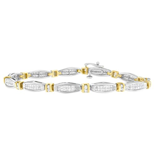 14K Two-Tone Gold Princess and Round Cut Diamond Beaded Bracelet (2.00 cttw, H-I Color, SI2-I1 Clarity)