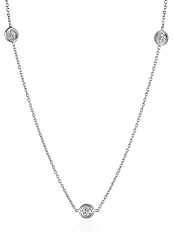 Roberto Coin Tiny Treasures 18k White Gold Three-Station Diamond Necklace (1/10cttw, G-H Color, SI1 Clarity) (Necklace Coin / Diamond 18k Roberto)
