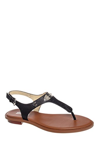 Kors Michael Leather Thongs (Michael Kors Women's Plate Leather Thong Sandals, Black, Size 7.5)