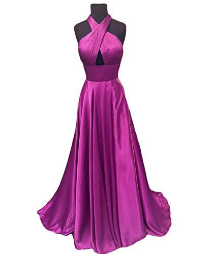 Formal Neck Backless Gowns Dreagel Halter Prom Evening Dress Fuchsia Women's Cross Sexy qwvHvtzF