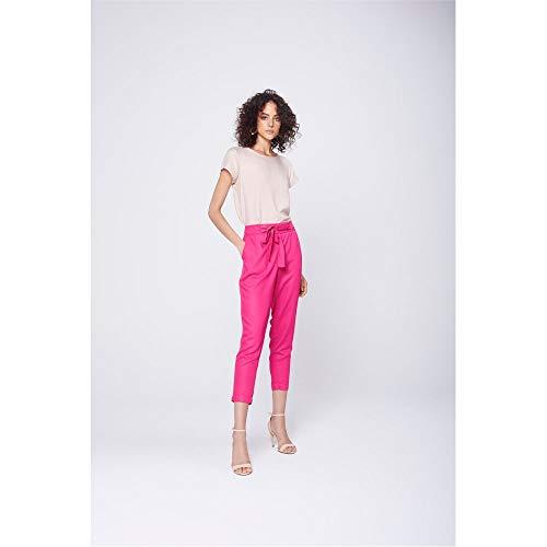 Calça Cropped Alfaiataria Com Amarração Tam: 36 / Cor: Rosa Escuro