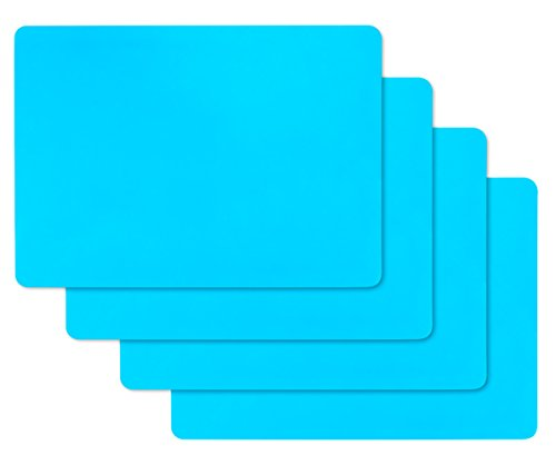 Resin Molds Silicone Sheets, 4 Pcs Large Flexible Silicone Sheet for Liquid Resin Jewelry Casting Craft Molds, Keep Desk Clean (Blue) ()