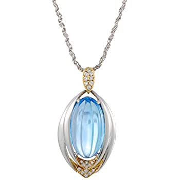 2fbeb7879a372 Luxury Bazaar Platinum and 18K Yellow Gold Diamonds and Ribbed Topaz  Cabochon Oval Pendant Necklace