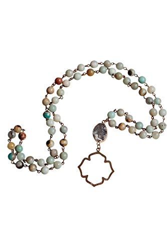Natural Amazonite & Druzy Stone Long Beaded Necklace with Gold Moroccan Arabesque Charm--Gift Bag Included--for work or casual wear, BEAUTIFUL gift for Mother's Day, Birthday, Valentines, Easter