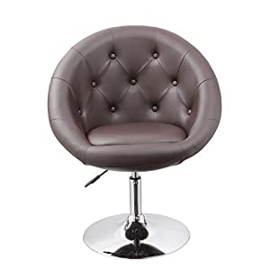 Fauteuil de Salon Marron Fauteuil Club Similicuir Fauteuil Cabriolet pivotant Chaise de Salle à Manger réglable en Hauteur Duhome 0333