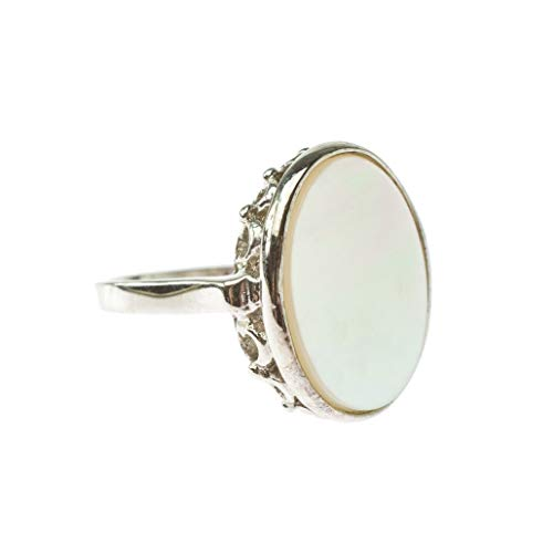 Providence Vintage Jewelry Mother of Pearl 18k White Gold Plated Ring
