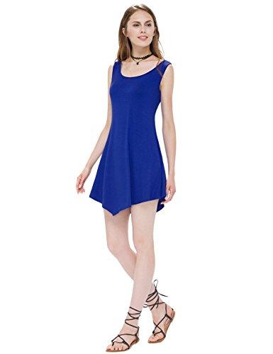 Dress Saphhire Sleeveless s Pan Alisa Blue 01014 Neck Simple Women Round Short Casual PSOPnqzwIx
