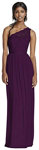 Length Lace One Style Shoulder Dress Mesh Corded 4XLF17063 Bridesmaid Plum Extra wqqREgxA