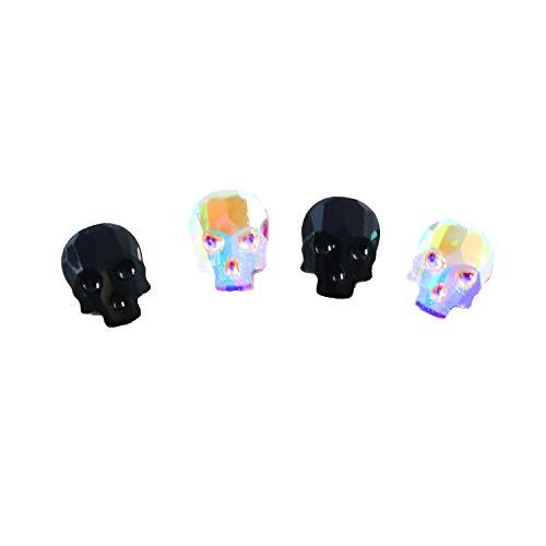 Swarovski 2856 Skull Flatback 10x7.5mm w/ 2 colors-Crystal AB and Jet (Pack of -