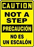 Accuform SBMSTF653XV Multilingual Construction CAUTION NOT A STEP (BILINGUAL-SPANISH) 20'' x 14'' Adhsv Dura-Vnyl