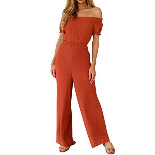 - KINGOL Womens Solid Color Jumpsuit Casual Strapless Sleeveless Short Jumpsuit Orange
