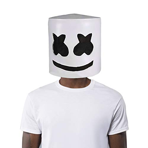 Marshmello DJ Mask Latex Full Head Helmet Halloween Cosplay Costume Bar Music Props Novelty Adult -