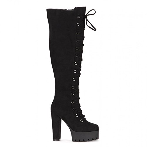 Onlineshoe Women's Tall Over The Knee Thigh High Block Heel Cleated Platform Fully Laced Boot UK5 - EU38 - US7 - AU6 Black (Laced Platform Knee High Boots)