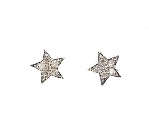 Pave Diamond Star Stud Earring- 14k Gold (.08ctw)- Genuine White Diamonds