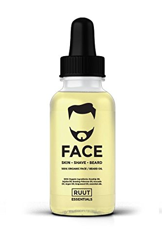 9 OIL BLEND, 100% ORGANIC DRY BEARD Oil/Anti-aging for Men, Best for dry skin by RUUT Essentials, with Rosehip, Jojoba, Argan Oils