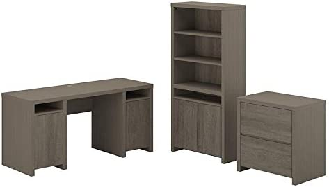 Bush Furniture Bristol Computer Desk with File Cabinet and Bookcase in Gray - Engineered Wood