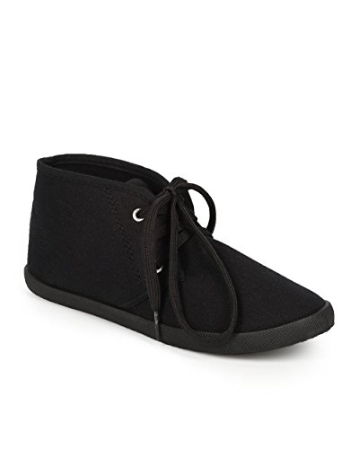 Uppdatera Ch02 Kvinnor Som Kanfas Rund Tå Snörning Chukka Platt Sneaker - Svart Duk
