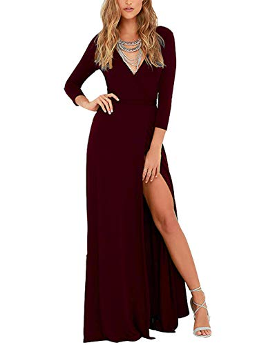 DLDY Womens 3/4 Sleeve V-Neck Split Solid Faux Wrap Long Maxi Dress with Belt (XX-Large, WineRed)