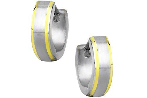 Gold Plated Stainless Steel Two Tone Brushed Center Beveled Edge Huggie Hoop Earrings for Men