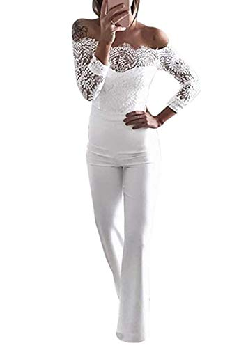 Bianchi Pantaloni Shoulder Womens Jumpsuits Lace Belt Backless Pagliaccetti Bodycon Tuta Off Patchwork PFqxqwRU