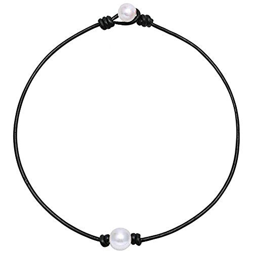 - ZJ Design One Pearl Choker Necklace,Single Pearl Leather Pendant Necklace for Women White Pearl Jewelry Handmade 16H