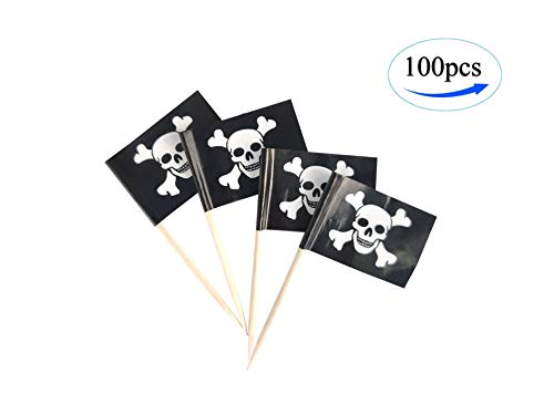 Pirate Jolly Roger Toothpick Flags,100 Pcs Cupcake Toppers Flag, Country flag Toothpick Flag,Small Mini Stick flags Picks Party Decoration Pirate festival Celebration Cocktail Food Bar Cake Flags (Jolly Roger Toothpicks)