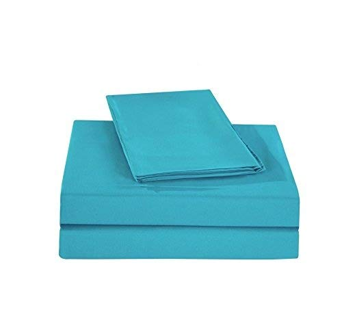 King of Cotton Bed Sheets Set Egyptian Cotton, Turquoise Solid 600 Thread-Count 4-Piece Twin Extra Long Bed Sheet Set Sateen Solid, 16