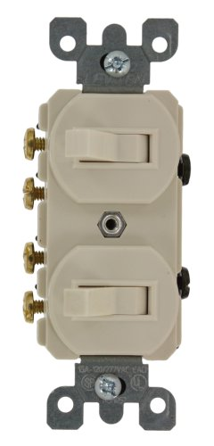 Leviton 5243 15 Amp, 120/277 Volt, Duplex Style Two 3-Way Combination Switch, Commercial Grade, Light Almond (Almond Dual Rocker)