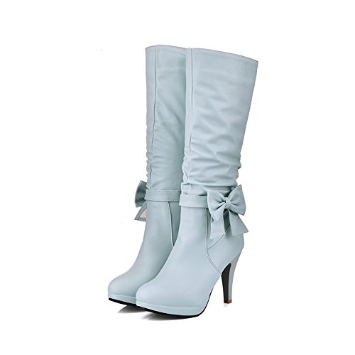 DecoStain Women's Sweet Bowtie Solid Zipper High Heel Boots Light Blue U9UtTDF