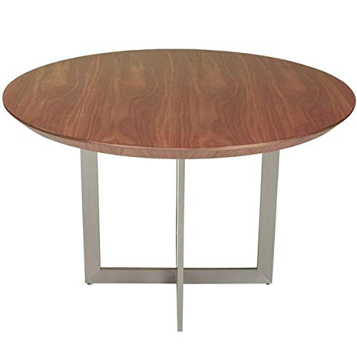 54'' American Walnut and Stainless Steel Circular Meeting Table