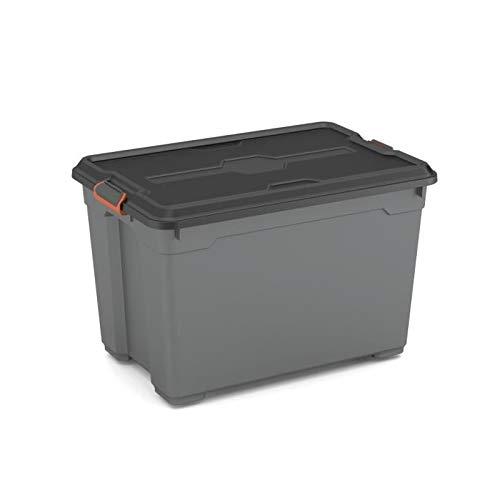 KIS Moover Box PRO XL Corpo + Coperchio con Clips con Ruote 58 x 38 x 38 H, Grigio/Nero, 59 x 38.5 x 53 8464100