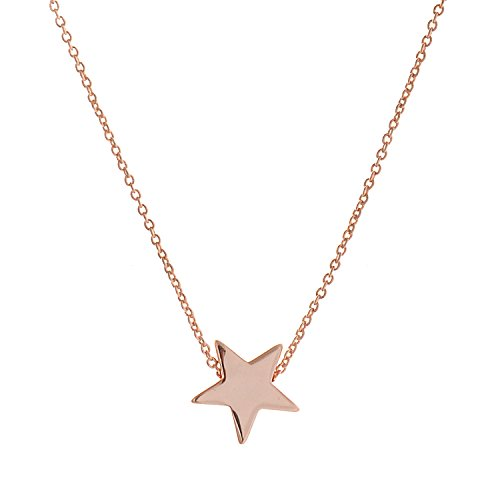 lureme Gold Plated Alloy Smooth Five Point Star Pendant with an 15.7 Inch Link Necklace (01003824-1)
