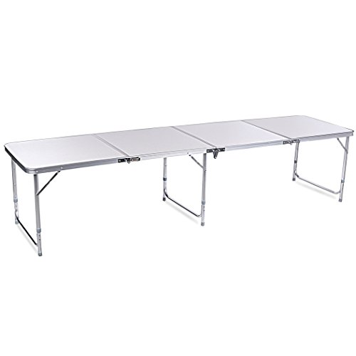[F&D 4 in 1 Folding Aluminum Camping Table Utility Desk w/Carrying Handle for Kitchen Garden Party Picnic, 8Ft, White] (8 Utility Table)