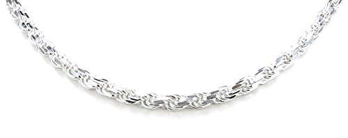 Real Solid 925 Sterling Silver Diamond Cut Rope Chain 5.0mm 18