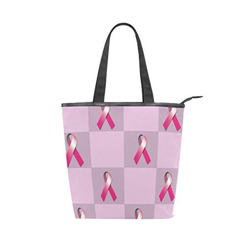 - Breast Cancer Pink Ribbon Women's Large Canvas Tote Travel Handbags Top-Handle Bag Shoulder Shopping
