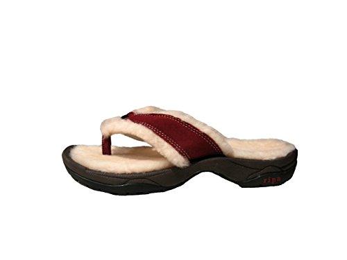 Lined Suede Sandals - Ripa Mens/Womens Himalayan Garnet Shearling Slipper Sandal, US Mens 5/Womens 7