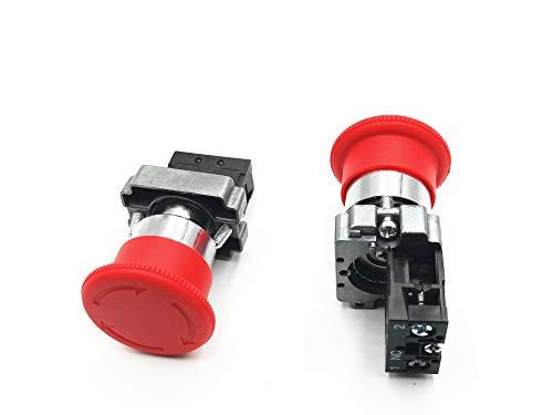 - 22mm Red Mushroom Emergency Stop Push Button Switch 600V 10A ZB2-BE102C 2PCS