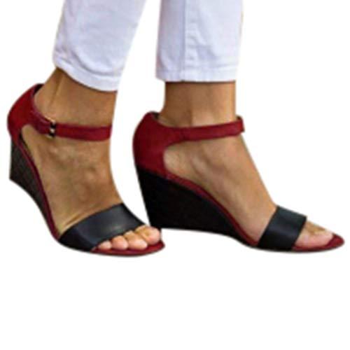 Oasisocean Sandal Women Sandals Womens Platform Wedge Espadrille Open Toe Buckle Strap Summer Espedrilles Sandals Red