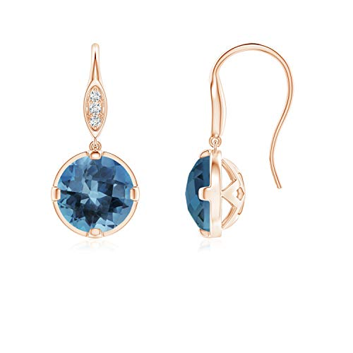 London Blue Topaz Fish Hook Earrings with Diamond Accents in 14K Rose Gold (6mm London Blue Topaz)