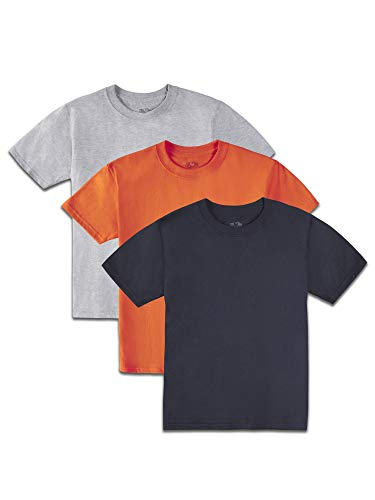 Fruit of the Loom Boys' Solid Multi-Color Short Sleeve Soft Crew T-Shirts, 3 Pack, ORANGE/STEEL GREY HEATHER/BLACK, Large (Fruit Of The Loom Boys Tshirts)