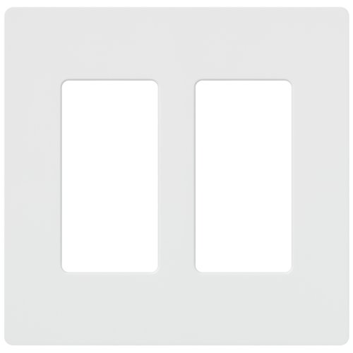 Lutron Claro 2 Gang Decorator Wallplate, CW-2-WH, White (Plastic Switchplate)