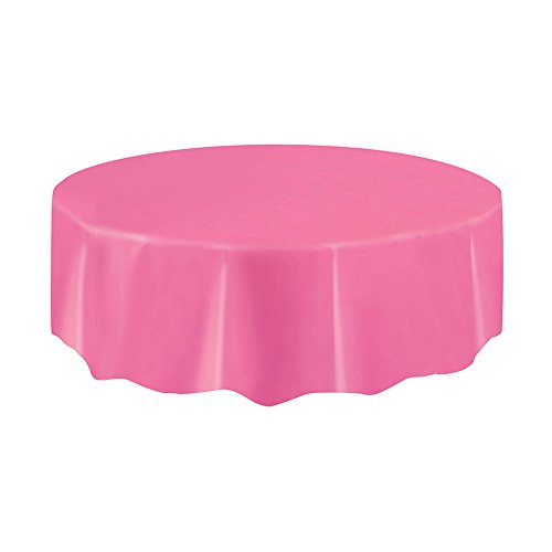 - Round Hot Pink Plastic Tablecloth, 84