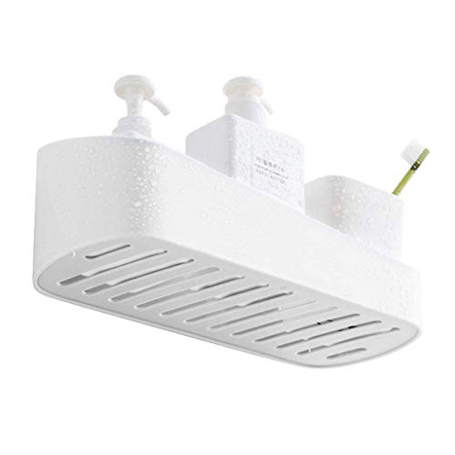 SUNFICON Adhesive Shower Caddy Basket Bathroom Shelf Organizer Wall Mounted Spices Storage Rack No Drilling Shower Shelf Bath Essentials Makeups Shampoo Holder with Traceless Clear ()
