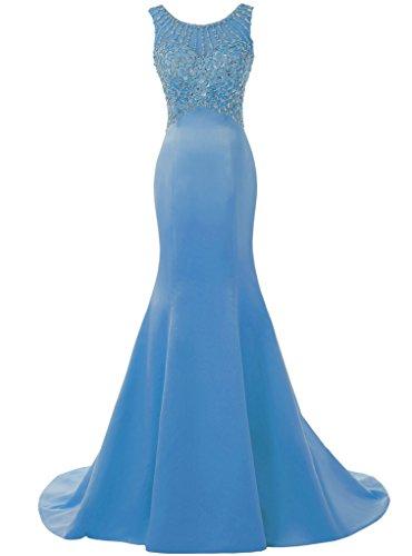 Mermaid Solovedress Long Dress Prom Women's Beaded Dress Evening Wedding Blue Bridesmaid Gowns 6qAq1xBwE