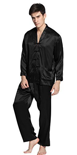 LilySilk Men Silk Pajamas Set exotic buttoned front 22 Momme 100% Mulberry Silk (L, Black) - New Mens Silk Satin Pajama