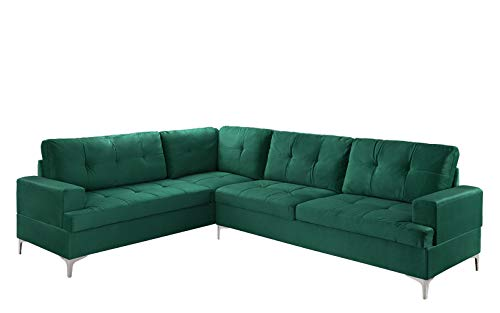 (Classic Large Tufted Velvet Sectional Sofa, Living Room L-Shape Couch (Green))