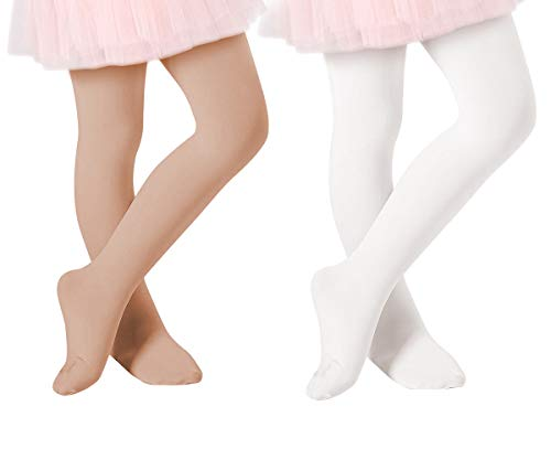 Century Star Ballet Dance Tights Footed Ultra-Soft Kids Super Elasticity School Uniform Tights For Girls 2 Pack Nude & White Small