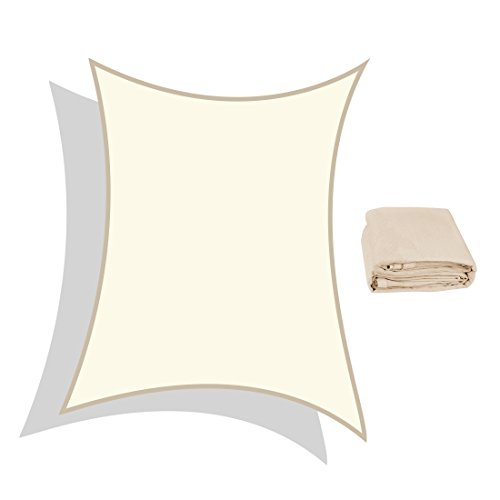 Peaktop 98% UV Block 20x16 Ft Rectangle Sun Shade Sail Canopy With Free Carry Bag Custom Size Available Ivory (Costco Sunbrella)