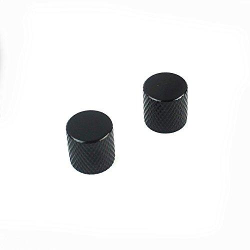 (2x Metal Knobs Tele Style ,Non-adjustable ,Flat-Top Black)