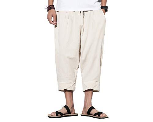 bcc83d109e INVACHI Mens Casual Elastic Waist Linen Capri Wide Leg Baggy Harem Pants  Trousers